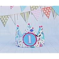 Corona de tela cumpleaños niña unicornios con números del 1 al 5