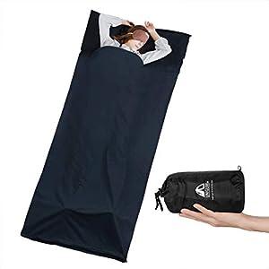 Unigear Hüttenschlafsack aus Baumwolle, Reiseschlafsack mit Kissenfach und Doppeltem Reißverschluss Schlafsack Inlett Inlay Sommerschlafsack dünn, leicht & Atmungsaktiv