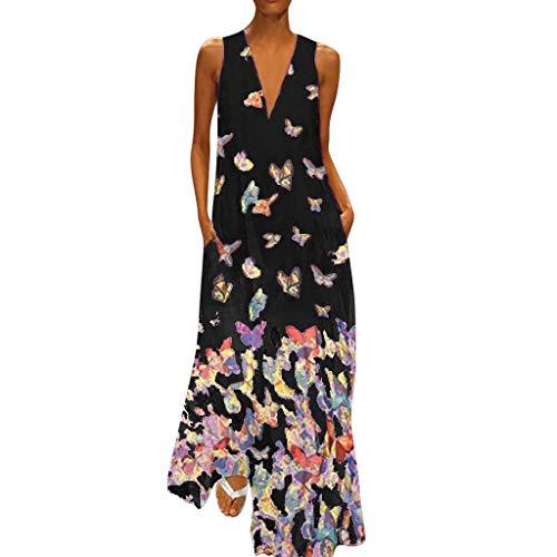 MAYOGO Kleid Damen Sommer Lang Elegant Schick Große Größen Ärmellose Maxikleid Schmetterling Muster Casual Cool Leichte Kleider mit Tasche S-5XL (Kommunion Cinderella Kleider)