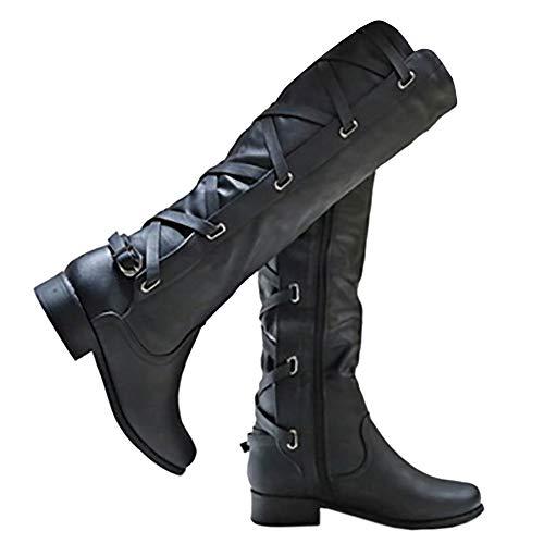 Pxmoda Damen Kniehohe Stiefel Lace-Up Low Heel Winter Lederstiefel (39, Schwarz) -
