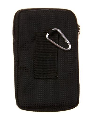 KISS GOLD Uni Etui Handytasche Geldbeutel mit Karabiner & zwei Reißverschluss Taschen 10.5x3x17 cm schwarz+marine Schwarz+Marine