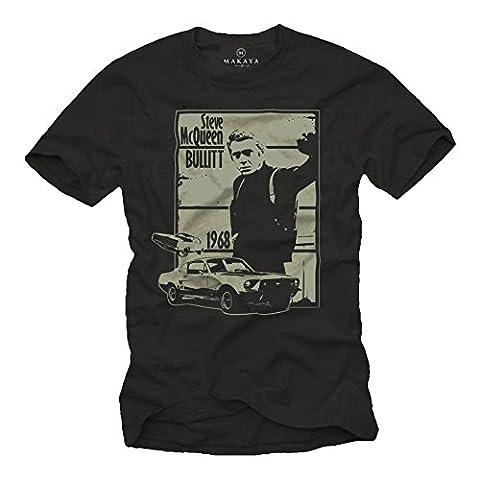 Herren T-Shirt mit Aufdruck BULLITT schwarz Größe XXXL