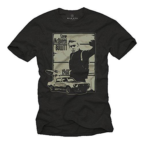 Herren T-Shirt mit Aufdruck Bullitt schwarz Größe L