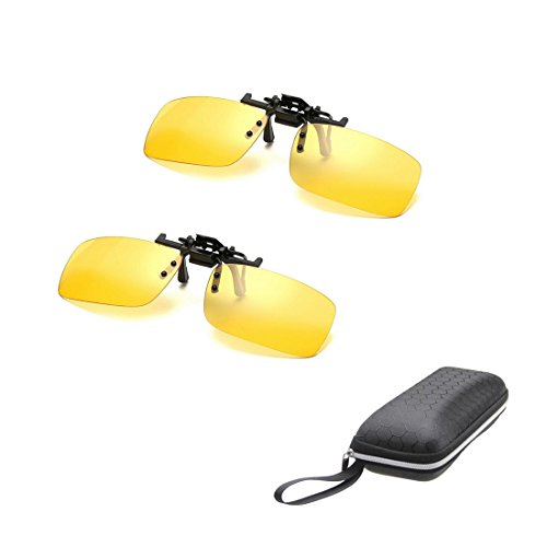 2 PACK Unisex Fahren Schie?en Brille Scopes Gelb Nachtsicht Angeln Sport Wandern Camping Reisen Blendschutz SUN UV-Schutz Augenschutz Clip-On Fit-Over-Korrekturbrillen - Rechteck