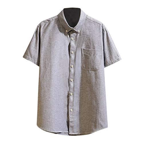 MAYOGO Tshirt Herren Hemd Leinen Einfarbige Tshirts Herren Button Down Sommer Shirts Tops aus Leinen