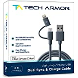 Tech Armor Dual Lightning / Micro USB Sync & Charge Cable - 6Ft - Space Gray - Tough-Braided Extra-Strong Jacket - Apple & Android - Lifetime Warranty