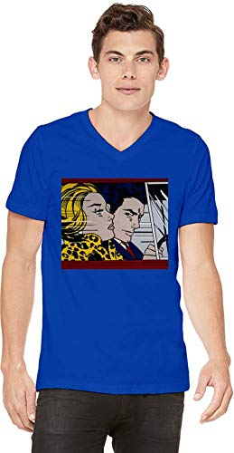 Top Paintings of All Time Roy Lichtenstein - In The Car Painting Men V-Neck T-Shirt Stylish Fashion Fit Custom Apparel by X-Large (Lichtenstein-t-shirt Roy)