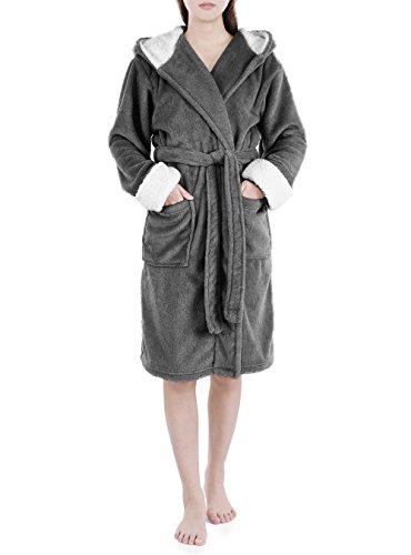 Genuwin Damen Bademantel mit Kapuze Luxury Morgenmantel aus Mikrofaser mit Seitentaschen, Öko Tex 100 - Üppig und Weich- 3/4-lang Wadenlang (M, Dunkelgrau)