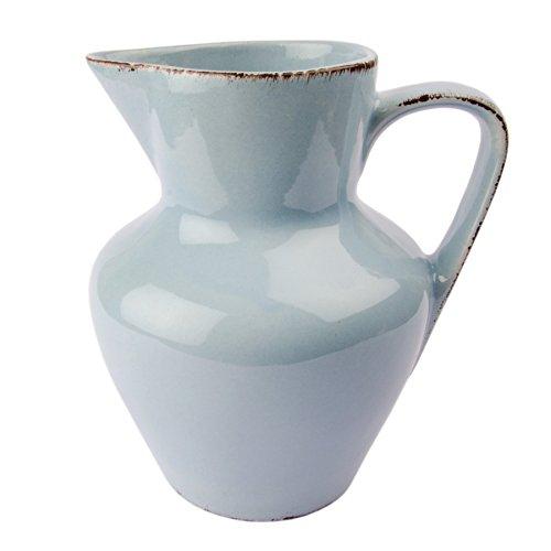 Gina Da Krug Kanne Keramik Jug Karaffe Blau Rosa Weiß - Serie Tosca - 18,5x15cm Shabby Chic Landhaus (Blau) - Keramik-krug Weiße Hohe,