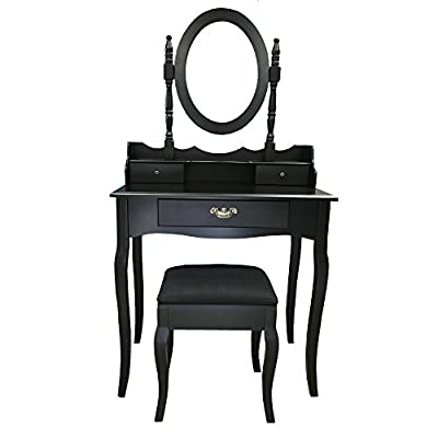 Redstone Black Dressing Table Set with Stool and XL Drawer with Dividers - cheap UK dressing table shop.