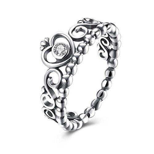 EnjoIt  -  925 Sterling-Silber  Silber     Oxyde de Zirconium  (Ring Silber Midi Krone Sterling)