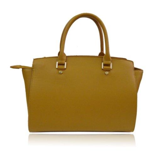 UKFS Celine Borse Tote / progettista delle ragazze delle signore del Faux della borsa sacchetto di cuoio / spalla (Medio Rosso) Medio Marrone