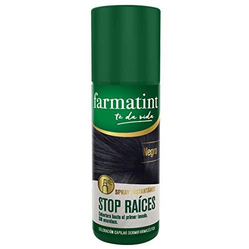 Farmatint Spray instantáneo capilar Stop Raíces, color negro - 75 ml, Negro