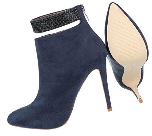 Damen Ankle Boots Schuhe High Heels Stiefeletten Schwarz Blau 36 37 38 39 40 Dunkelblau