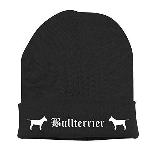 Strickmütze BAD - BULLTERRIER Bull Terrier britische Hunderasse - Stickerei ALTDEUTSCH Hund Winter Mütze Wintermütze Beanie Mütze Siviwonder schwarz-weiß