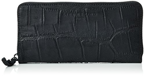 Liebeskind Berlin Damen Sallyr Big Scale Alligator Geldbörsen, Schwarz (Ninja Black 9998), 20x10x2 cm