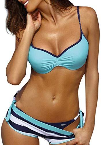 Neckholder Bikini Bademode (heekpek Damen Bikini Set mit Hotpants Push Up BH Strand Bademode Bikini Damen Set Push Up Bademode Zweiteilige Neckholder Bikini, See Blau, XL)