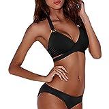 ZARU Bandage einfarbig Split Bikini, Damen Push-Up Gepolsterter BH Neckholder Zweiteilige Bademode Sport Badeanzug Tankini Beachwear Bikini Set (L, Schwarz)