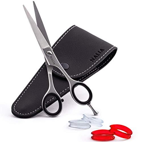NALIA® Premium Haarschere - Friseurschere mit extra Fingereinsätzen für Damen und Herren - Bartschere mit präzisem Schnitt - Abrutschsichere Gummiringe - Rostfreier Edelstahl