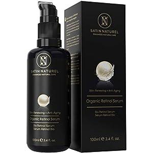 GANADOR 2020* Serum Facial de Retinol ORGÁNICO con Acido Hialuronico TRES VECES MAYOR 100ml – Sistema 3% Retinol de Liberación Sostenida+25% Vitamina C – Hidratante Facial para Mujer Contorno de Ojos