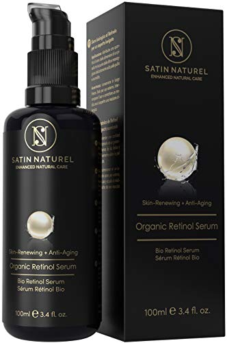 SatinNaturel BIO Retinol Serum Vegan 100ml - DREIFACHE GRÖßE - 3% Retinol Liefersystem mit 25% Vitamin C Komplex, Aloe Vera, Hyaluronsäure & Vitamin E B3 A - Anti-Aging Made in Germany