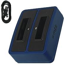 Cargador doble (Micro-USB, sin adaptores) para Samsung SLB-10A / Toshiba Camileo X-Sports / JVC Adixxion / Silvercrest / Medion Action Cam.. v. lista