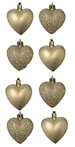 8 x 5cm Champagner Gold Glitter + Matt Heart Shaped Christbaumkugeln