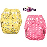 Fig-O-Honey Reusable New Born Baby Cloth Diapers | Multi-Color Baby Fabric Nappy With Free Absorbent Inserts | Washable And Elastic Printed Modern Cloth Nappies With Insert Liners | ( Pink Pola & Emoji Print Combo )