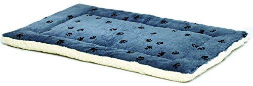 Artikelbild: MidWest Homes for Pets MidWest Quiet Time-Wendebett für Hunde, Pfotenmuster/Fleece (53,34x30,48cm), Blau