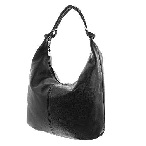 f155b8900950b MIO echt Leder Schultertasche Damen Shopper Beuteltasche große Ledertasche  Frauen schwarz