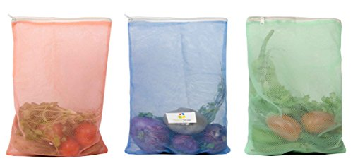 HomeStrap Reusable Mesh Fridge Storage Bags for Fruits and Vegetables(Multicolour, Standard) – Set of 12
