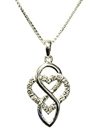 Sterling Silber Celtic Everlasting Love Geburtsstein Halskette – April