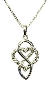 Sterling Silber Celtic Everlasting Love Geburtsstein Halskette–April