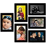 Tonkwalas Collage Individual Photo Frames, Set of 6,Wall Hanging (3 pcs - 4x6 inch, 3 pcs - 6x4 inch) (Half Inch Stick, Plexi Glass, Black)