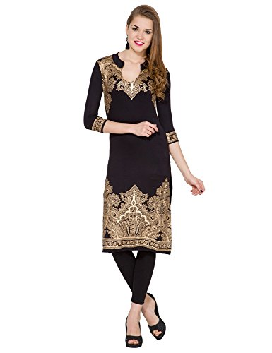 Folklore Women's Straight Kurta (FOKU001570_Black_Large)