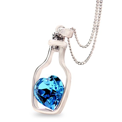 Fasherati Love Drift Bottles colorful blue rohdium plated Heart Crystal Pendant Necklace...