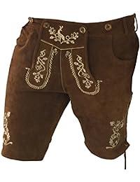 Trachten Hosen Herren Hosen Lederhosen Trachtenlederhosen Trachtenhosen + Gürtel+ Träger Bermuda Freizeit Business Braun Echt Leder