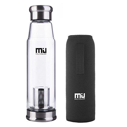 MIU COLOR – Botella de vidrio con funda de nailon, portátil, Vidrio