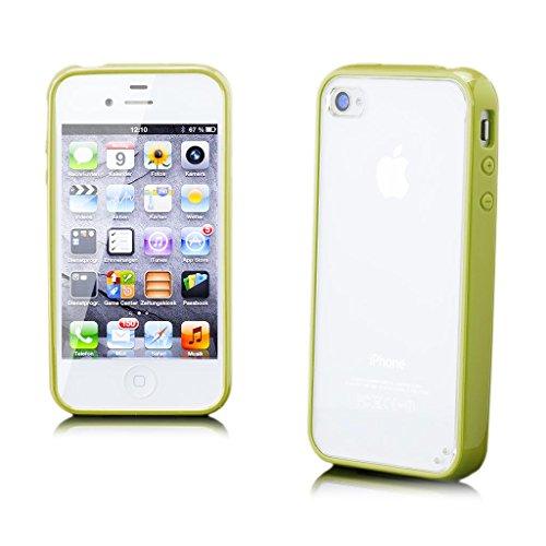 iCues Apple iPhone 4/4S |  TPU Bumper mit Klare Rückseite Case Neon Grün | [Display Schutzfolie Inklusive] Transparent Klarsichthülle Durchsichtig Klare Klarsicht Silikon Gel Schutzhülle Hülle Cover S Neon Grün