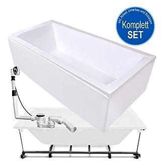 AQUADE Badewanne Komplett-Set inkl. Untergestell, Ab-Überlauf und Schürzen-Set 180x80 180 x 80 cm Modell: Bremen + Nackenkissen