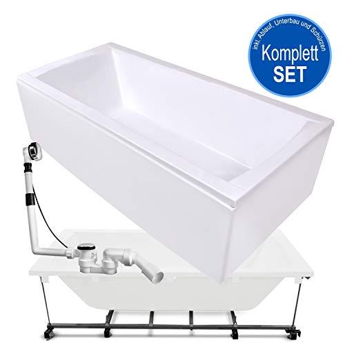 AQUADE Badewanne Komplett-Set inkl. Untergestell, Ab-Überlauf und Schürzen-Set 180x80 180 x 80 cm Modell: Bremen