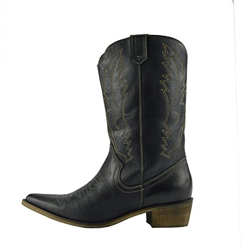 Damen Western Leder Cowboy Stiefel Spitz Zehen Damen Breite Kalb Stiefel Schwarz