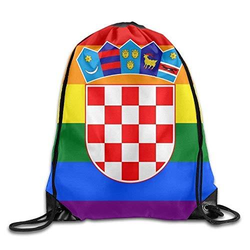 HLKPE Croatian Rainbow Flag Personalized Gym Drawstring Bags Travel Backpack Tote School Rucksack
