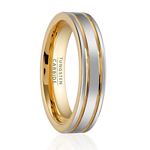 en Damen Wolfram 6mm Ring Gold Weißgold Größe 59 (18,9 mm) ()