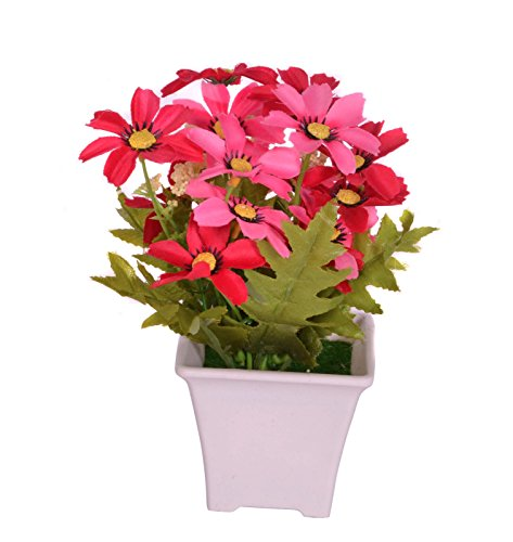 Pindia Artificial Pink Flower Plant with Pot for Home and Office Decor...