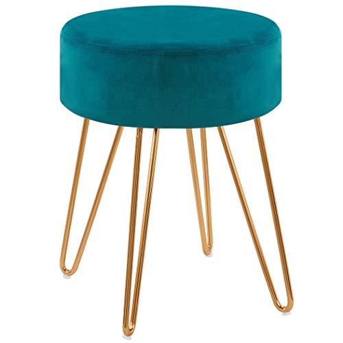 Duhome Sitzhocker Hocker Rund aus Stoff Samt Petrol Blau Grün Farbauswahl Schemel Elegantes Design Metallbeine 9111