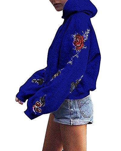 Minetom Donne Pullover Camicia Casuale Floreale Ricamato Sweatshirt Maniche Lunghe Collo Rotondo Felpa con Cappuccio Tops Blu