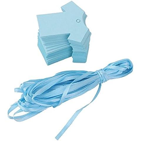 VORCOOL Tag carta 100pcs bambino doccia partito favore Gift Tags carta panno forma (blu)