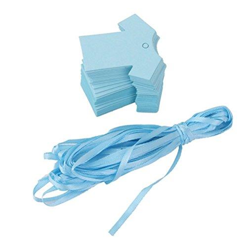 WINOMO Tags Bambino Doccia Partito Favore Panno di Carta Regalo Forma 100pz (blu)