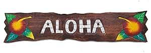 Panneau en bois 100cm Aloha Tiki Hawaii Plaque